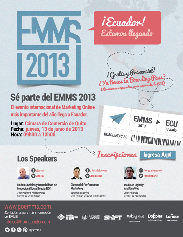 EMMS 2013, el evento de marketing digital internacional llega a Ecuador este 13 de junio.